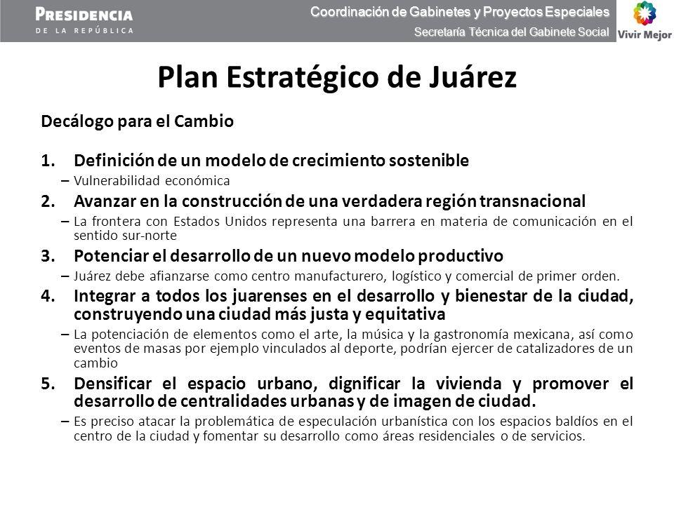 Plan Estratégico de Juárez Decálogo para el Cambio 1.Definición de un modelo de crecimiento sostenible – Vulnerabilidad económica 2.Avanzar en la cons