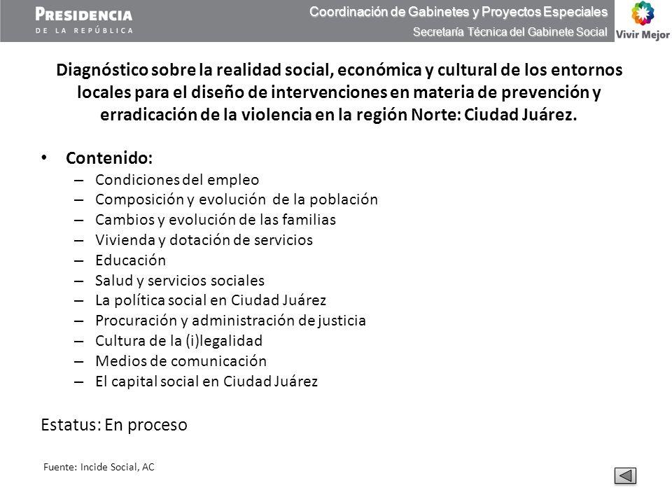 Diagnóstico sobre la realidad social, económica y cultural de los entornos locales para el diseño de intervenciones en materia de prevención y erradic