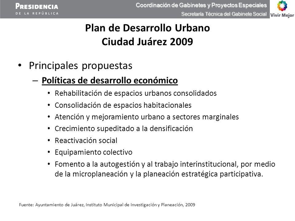 Plan de Desarrollo Urbano Ciudad Juárez 2009 Principales propuestas – Políticas de desarrollo económico Rehabilitación de espacios urbanos consolidado