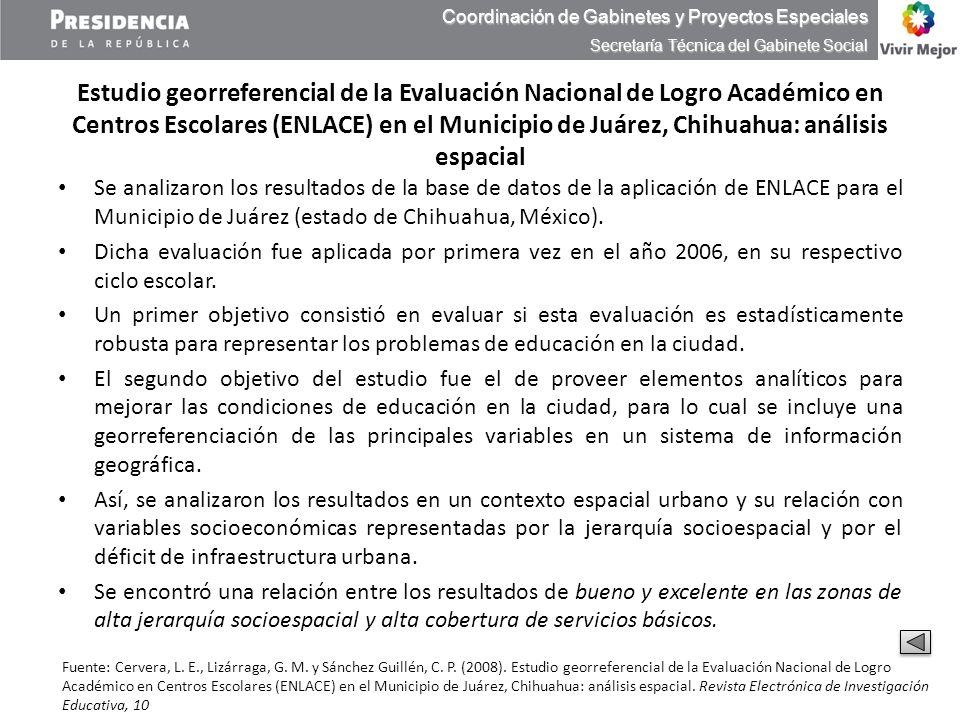 Estudio georreferencial de la Evaluación Nacional de Logro Académico en Centros Escolares (ENLACE) en el Municipio de Juárez, Chihuahua: análisis espa