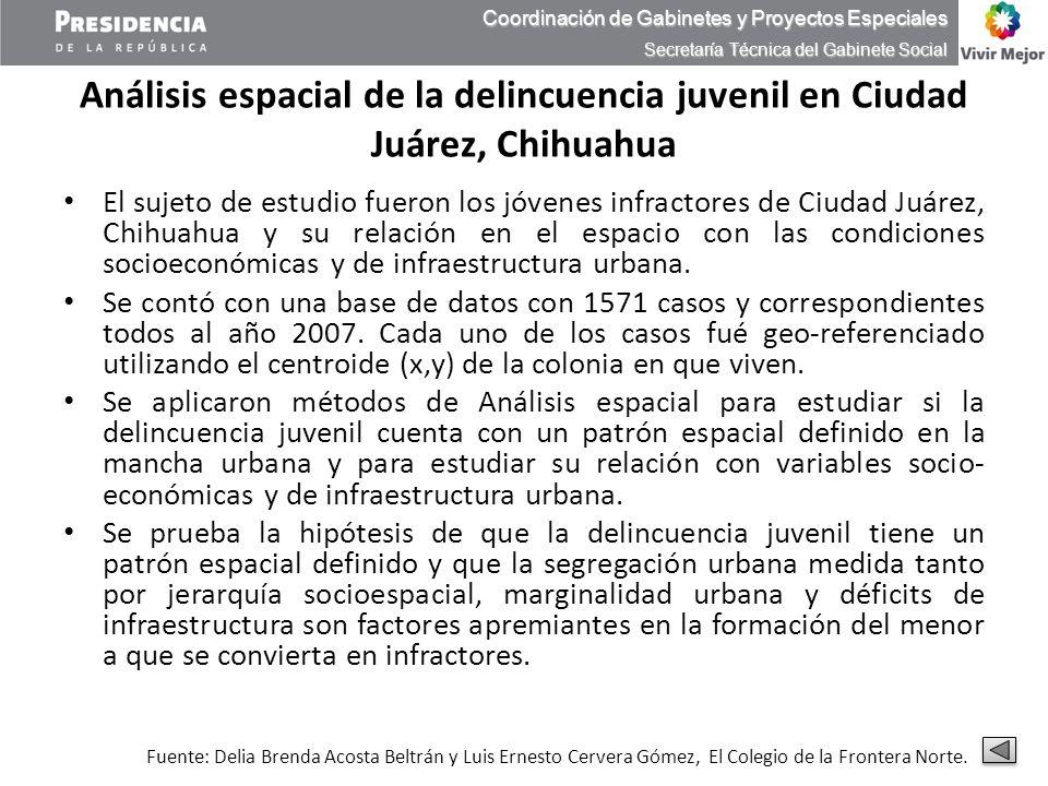 Análisis espacial de la delincuencia juvenil en Ciudad Juárez, Chihuahua El sujeto de estudio fueron los jóvenes infractores de Ciudad Juárez, Chihuah