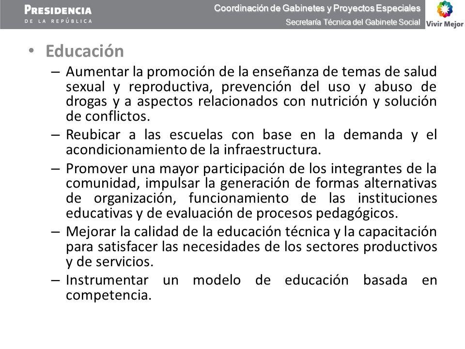 Educación – Aumentar la promoción de la enseñanza de temas de salud sexual y reproductiva, prevención del uso y abuso de drogas y a aspectos relaciona