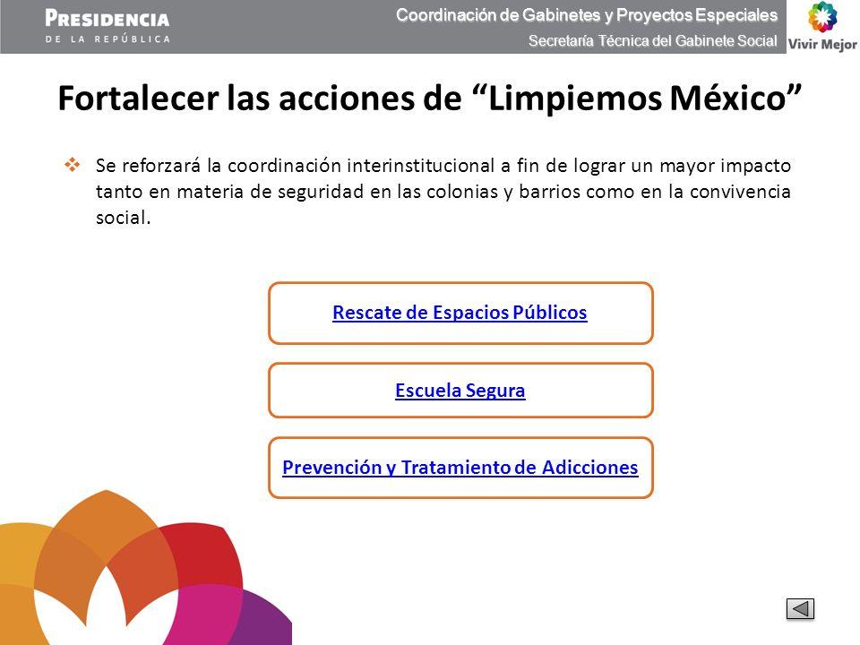 Fortalecer las acciones de Limpiemos México Coordinación de Gabinetes y Proyectos Especiales Secretaría Técnica del Gabinete Social Rescate de Espacio