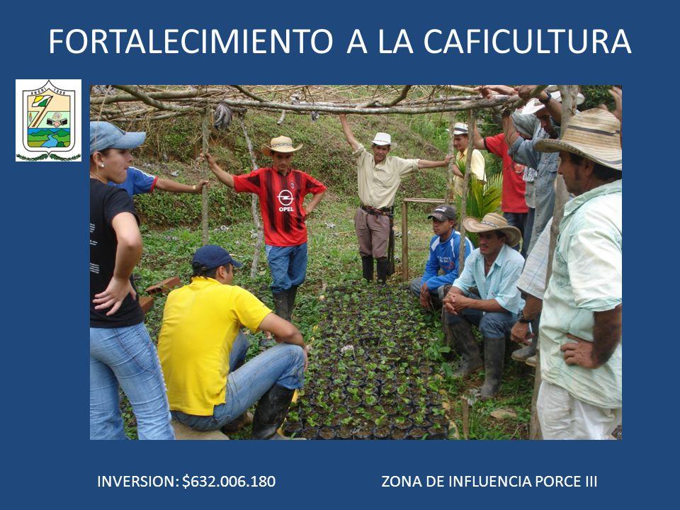 FORTALECIMIENTO A LA CAFICULTURA INVERSION: $632.006.180 ZONA DE INFLUENCIA PORCE III