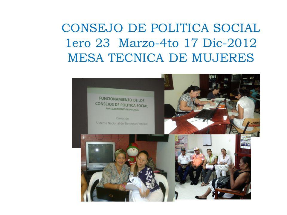 CONSEJO DE POLITICA SOCIAL 1ero 23 Marzo-4to 17 Dic-2012 MESA TECNICA DE MUJERES