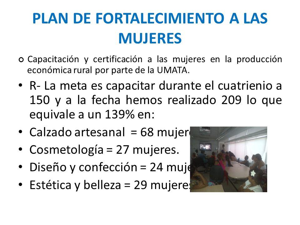 PLAN DE FORTALECIMIENTO A LAS MUJERES Capacitación y certificación a las mujeres en la producción económica rural por parte de la UMATA. R- La meta es
