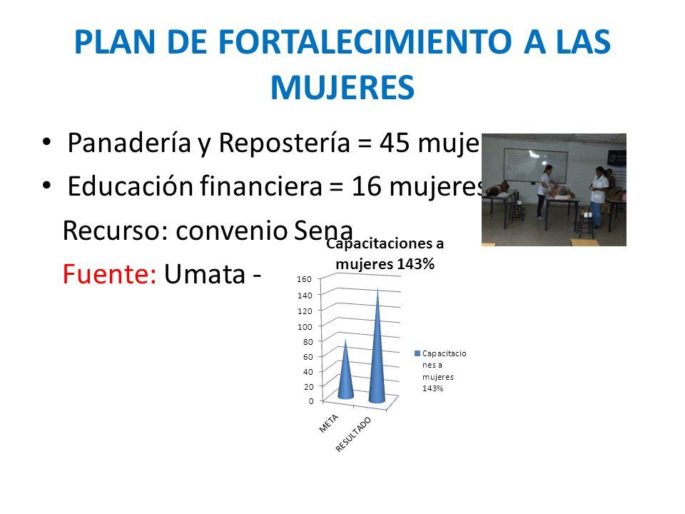 PLAN DE FORTALECIMIENTO A LAS MUJERES Panadería y Repostería = 45 mujeres Educación financiera = 16 mujeres Recurso: convenio Sena Fuente: Umata -