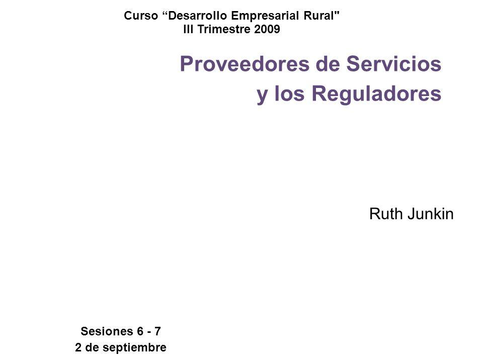 Proveedores de Servicios y los Reguladores Ruth Junkin Curso Desarrollo Empresarial Rural III Trimestre 2009 Sesiones 6 - 7 2 de septiembre