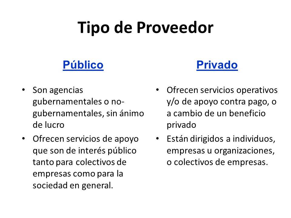 Tipo de Proveedor Ofrecen servicios operativos y/o de apoyo contra pago, o a cambio de un beneficio privado Están dirigidos a individuos, empresas u organizaciones, o colectivos de empresas.