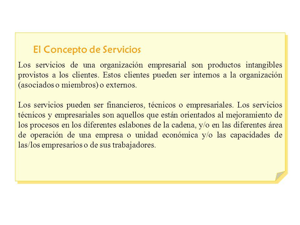 El Concepto de Servicios Los servicios de una organización empresarial son productos intangibles provistos a los clientes.