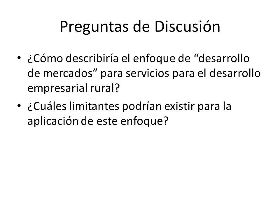 Preguntas de Discusión ¿Cómo describiría el enfoque de desarrollo de mercados para servicios para el desarrollo empresarial rural.