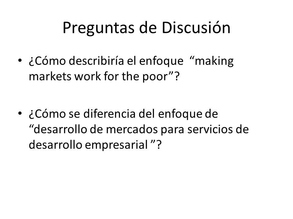 Preguntas de Discusión ¿Cómo describiría el enfoque making markets work for the poor.