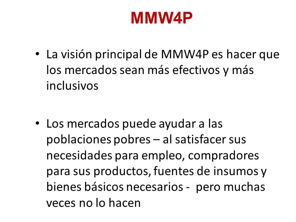 MMW4P La visión principal de MMW4P es hacer que los mercados sean más efectivos y más inclusivos Los mercados puede ayudar a las poblaciones pobres – al satisfacer sus necesidades para empleo, compradores para sus productos, fuentes de insumos y bienes básicos necesarios - pero muchas veces no lo hacen
