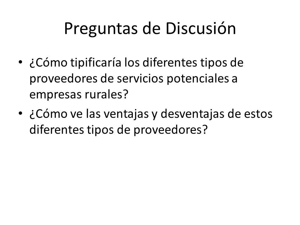 Preguntas de Discusión ¿Cómo tipificaría los diferentes tipos de proveedores de servicios potenciales a empresas rurales.