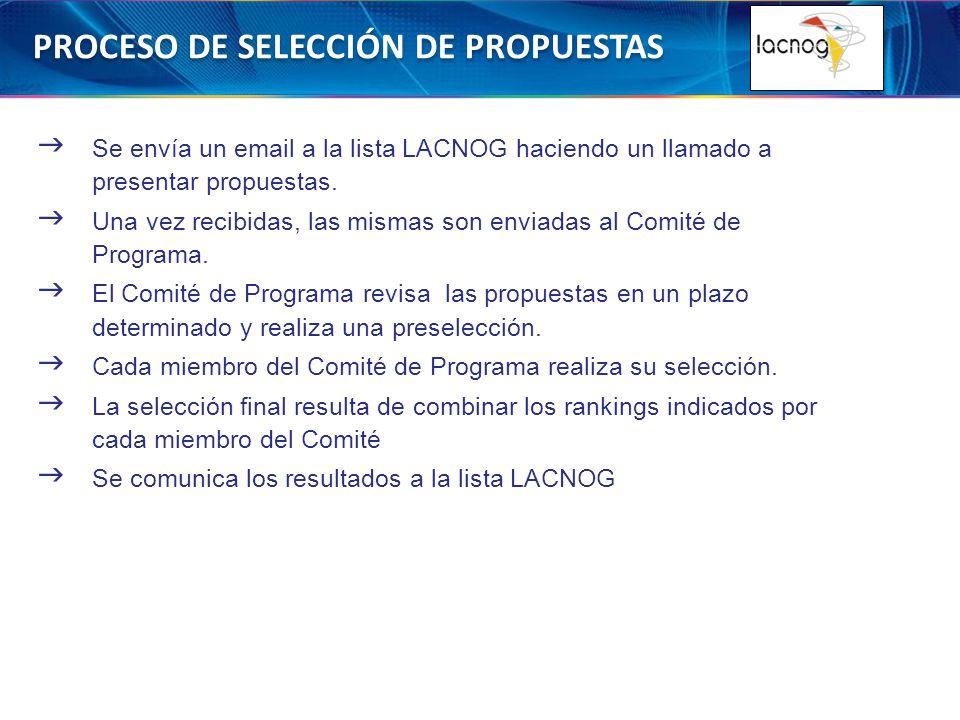 PROCESO DE SELECCIÓN DE PROPUESTAS Se envía un email a la lista LACNOG haciendo un llamado a presentar propuestas.