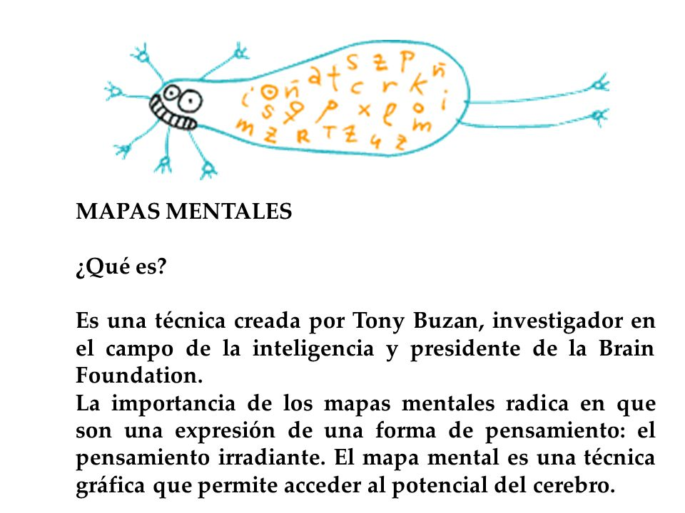 MAPAS MENTALES ¿Qué es? Es una técnica creada por Tony Buzan, investigador en el campo de la inteligencia y presidente de la Brain Foundation. La impo