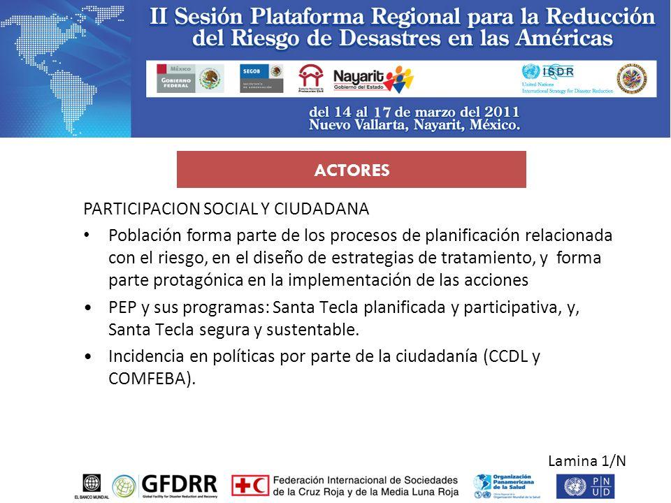 Lamina 1/N ACTORES PARTICIPACION SOCIAL Y CIUDADANA Población forma parte de los procesos de planificación relacionada con el riesgo, en el diseño de