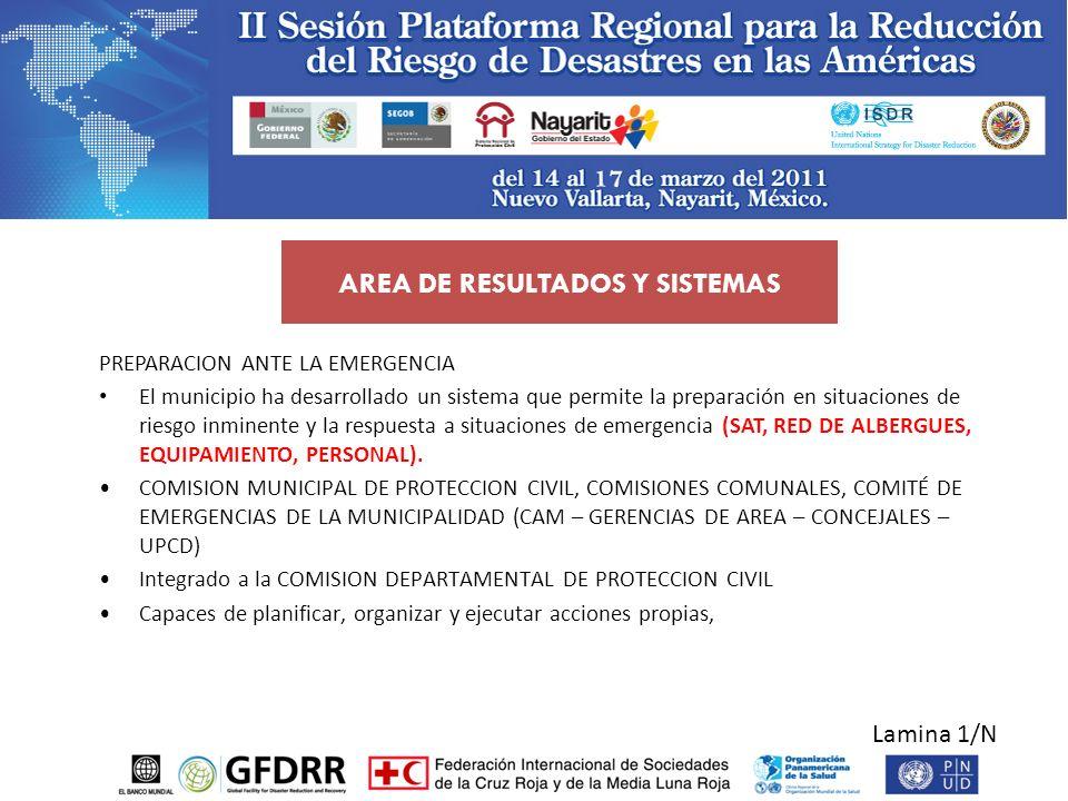 Lamina 1/N PREPARACION ANTE LA EMERGENCIA El municipio ha desarrollado un sistema que permite la preparación en situaciones de riesgo inminente y la r