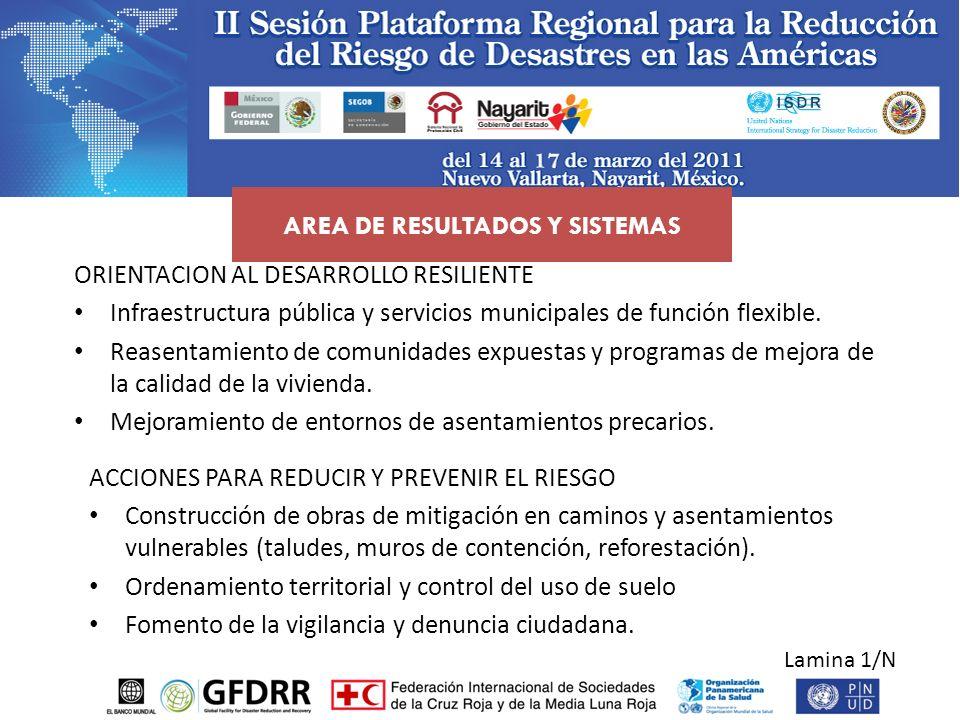 Lamina 1/N ACCIONES PARA REDUCIR Y PREVENIR EL RIESGO Construcción de obras de mitigación en caminos y asentamientos vulnerables (taludes, muros de co