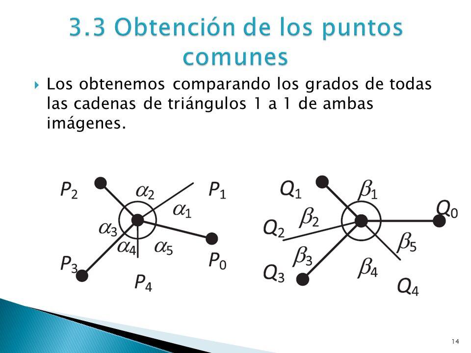 14 Los obtenemos comparando los grados de todas las cadenas de triángulos 1 a 1 de ambas imágenes.