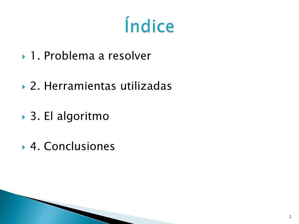 1. Problema a resolver 2. Herramientas utilizadas 3. El algoritmo 4. Conclusiones 2