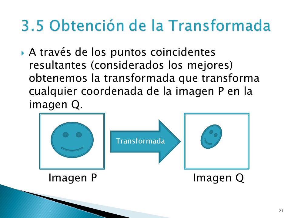 21 A través de los puntos coincidentes resultantes (considerados los mejores) obtenemos la transformada que transforma cualquier coordenada de la imagen P en la imagen Q.