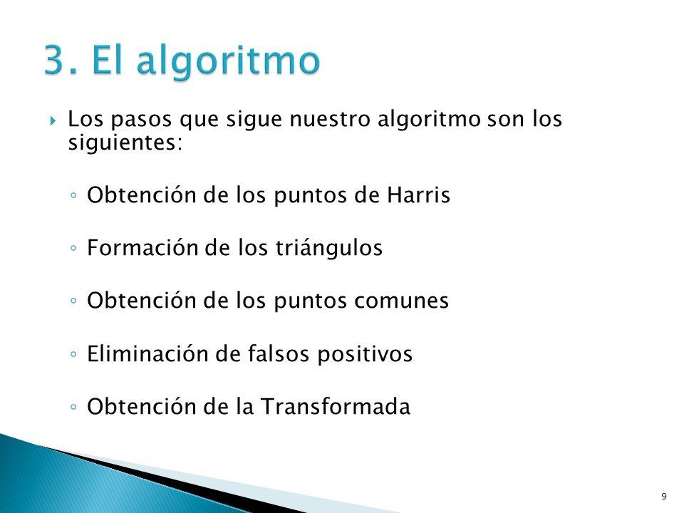 9 Los pasos que sigue nuestro algoritmo son los siguientes: Obtención de los puntos de Harris Formación de los triángulos Obtención de los puntos comunes Eliminación de falsos positivos Obtención de la Transformada