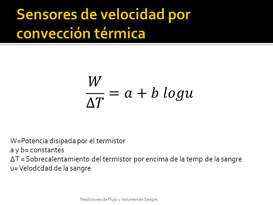 Mediciones de Flujo y Volumen en Sangre W=Potencia disipada por el termistor a y b= constantes T = Sobrecalentamiento del termistor por encima de la t
