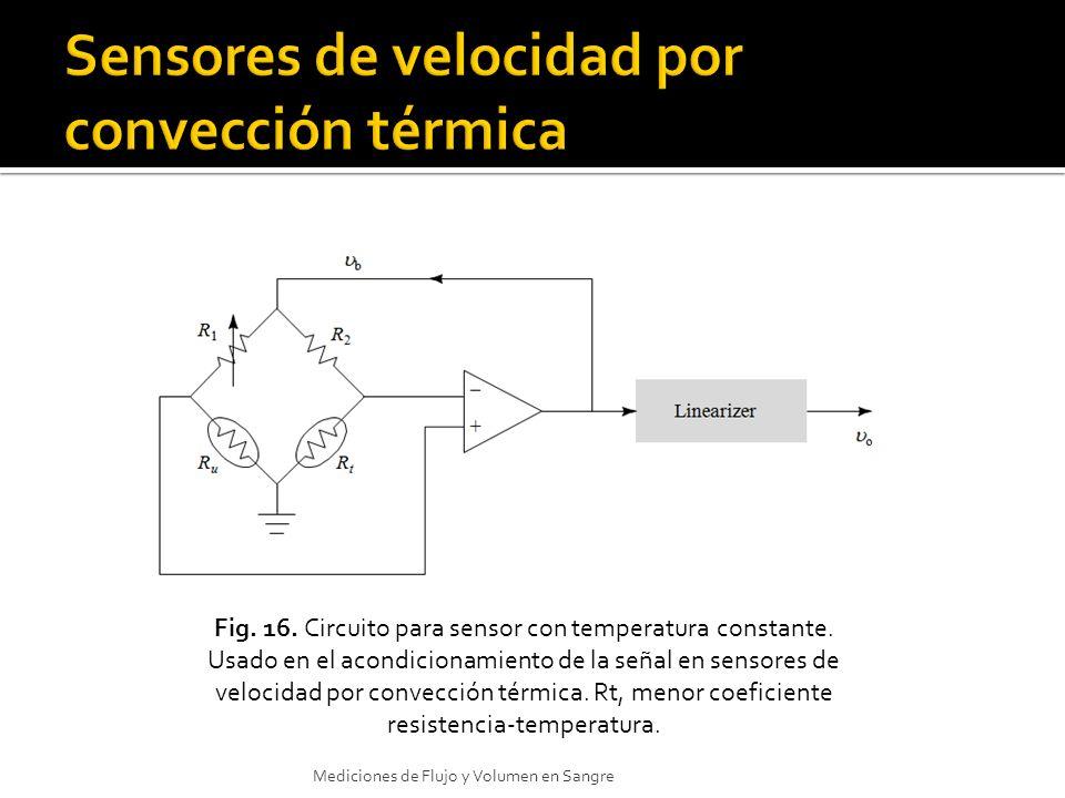 Fig. 16. Circuito para sensor con temperatura constante. Usado en el acondicionamiento de la señal en sensores de velocidad por convección térmica. Rt
