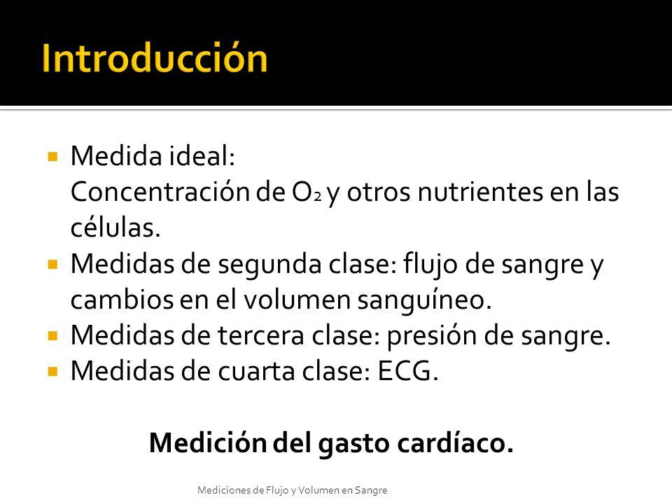 Medida ideal: Concentración de O 2 y otros nutrientes en las células. Medidas de segunda clase: flujo de sangre y cambios en el volumen sanguíneo. Med