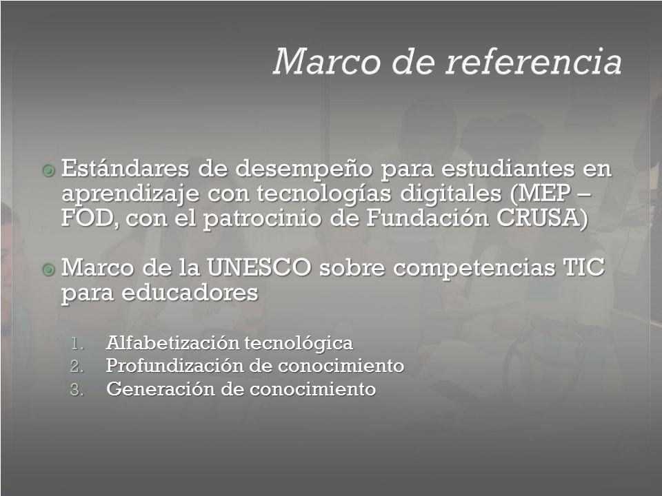 Marco de referencia Estándares de desempeño para estudiantes en aprendizaje con tecnologías digitales (MEP – FOD, con el patrocinio de Fundación CRUSA) Estándares de desempeño para estudiantes en aprendizaje con tecnologías digitales (MEP – FOD, con el patrocinio de Fundación CRUSA) Marco de la UNESCO sobre competencias TIC para educadores Marco de la UNESCO sobre competencias TIC para educadores 1.