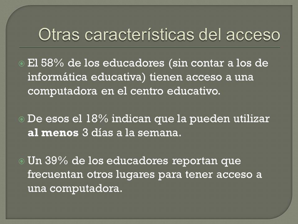 El 58% de los educadores (sin contar a los de informática educativa) tienen acceso a una computadora en el centro educativo.
