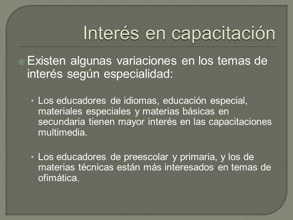 Existen algunas variaciones en los temas de interés según especialidad: Los educadores de idiomas, educación especial, materiales especiales y materias básicas en secundaria tienen mayor interés en las capacitaciones multimedia.
