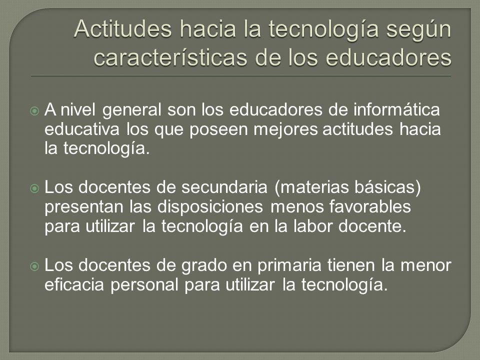 A nivel general son los educadores de informática educativa los que poseen mejores actitudes hacia la tecnología.