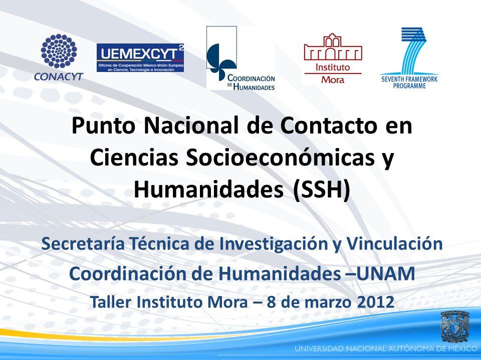 Punto Nacional de Contacto en Ciencias Socioeconómicas y Humanidades (SSH) Secretaría Técnica de Investigación y Vinculación Coordinación de Humanidad