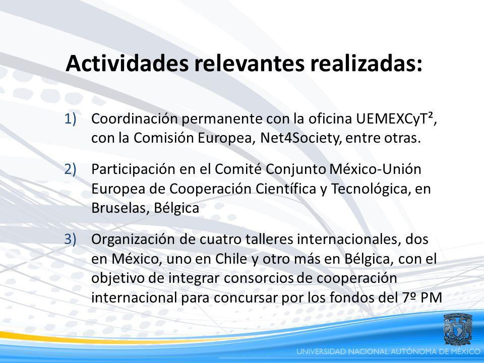 Actividades relevantes realizadas: 1)Coordinación permanente con la oficina UEMEXCyT², con la Comisión Europea, Net4Society, entre otras. 2)Participac