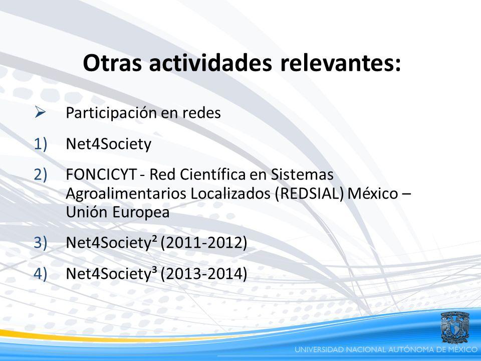 Participación en redes 1)Net4Society 2)FONCICYT - Red Científica en Sistemas Agroalimentarios Localizados (REDSIAL) México – Unión Europea 3)Net4Socie