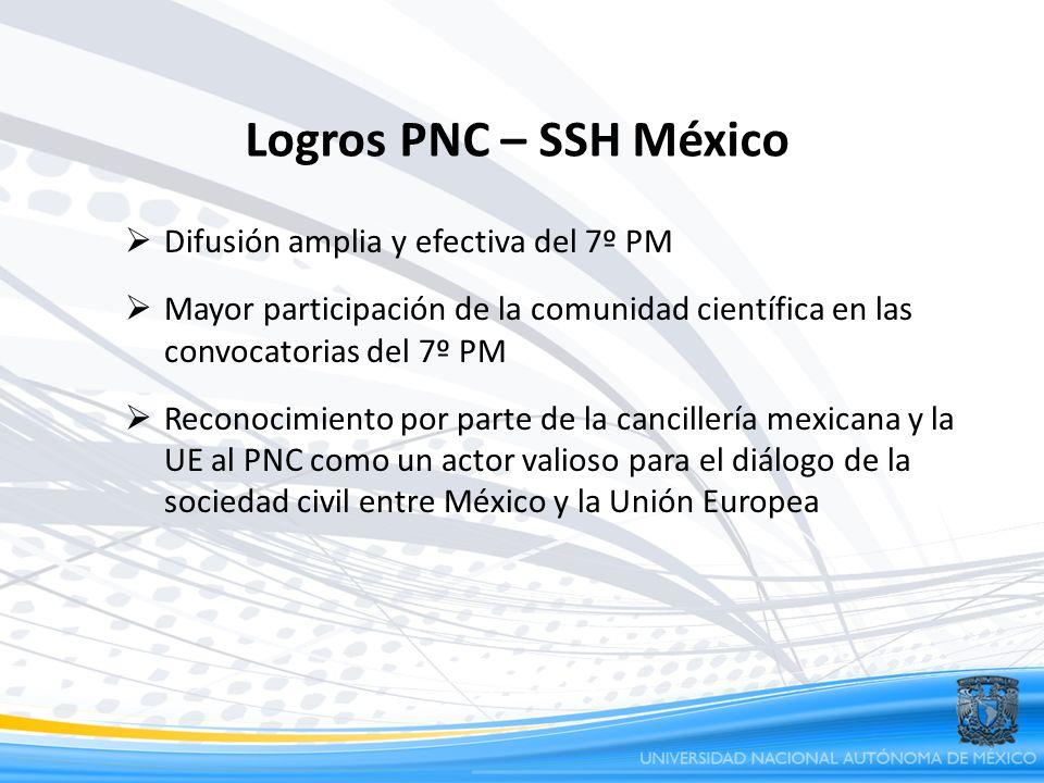 Logros PNC – SSH México Difusión amplia y efectiva del 7º PM Mayor participación de la comunidad científica en las convocatorias del 7º PM Reconocimie