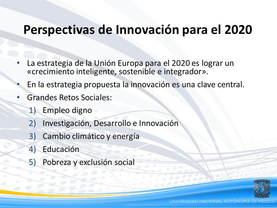 Perspectivas de Innovación para el 2020 La estrategia de la Unión Europa para el 2020 es lograr un «crecimiento inteligente, sostenible e integrador».