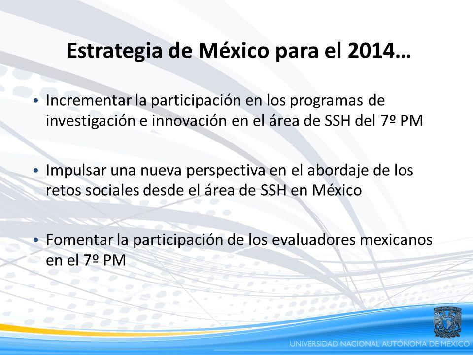 Estrategia de México para el 2014… Incrementar la participación en los programas de investigación e innovación en el área de SSH del 7º PM Impulsar un