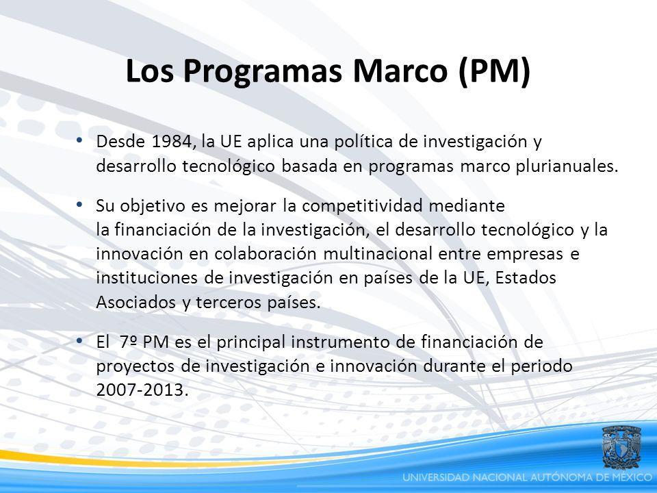 Los Programas Marco (PM) Desde 1984, la UE aplica una política de investigación y desarrollo tecnológico basada en programas marco plurianuales. Su ob