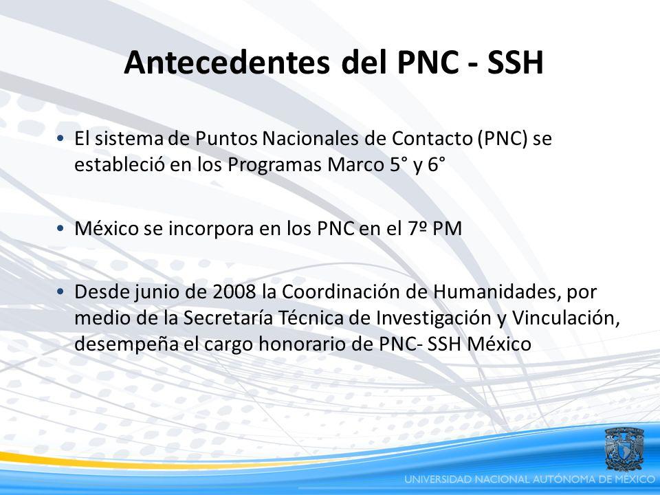 Antecedentes del PNC - SSH El sistema de Puntos Nacionales de Contacto (PNC) se estableció en los Programas Marco 5° y 6° México se incorpora en los P