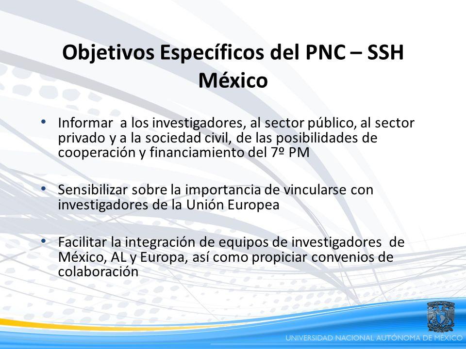 Objetivos Específicos del PNC – SSH México Informar a los investigadores, al sector público, al sector privado y a la sociedad civil, de las posibilid