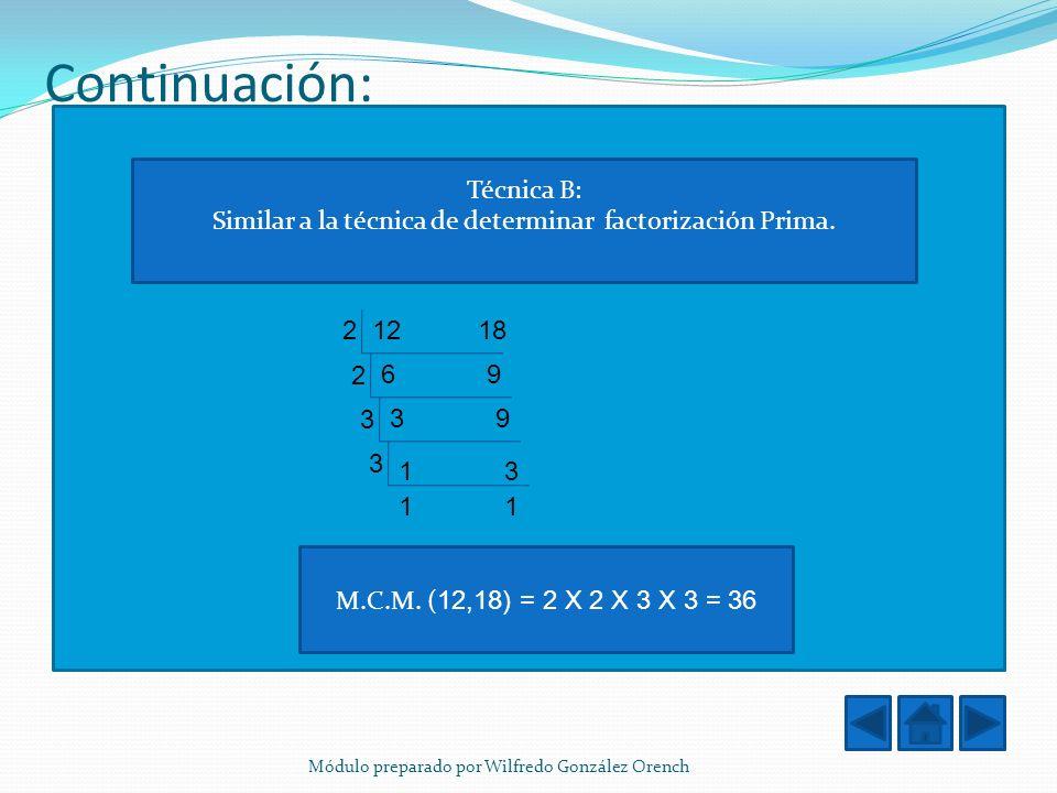 Continuación: Técnica B: Similar a la técnica de determinar factorización Prima. 1218 6969 3939 1313 2 2 3 3 1 M.C.M. ( 12,18) = 2 X 2 X 3 X 3 = 36 Mó