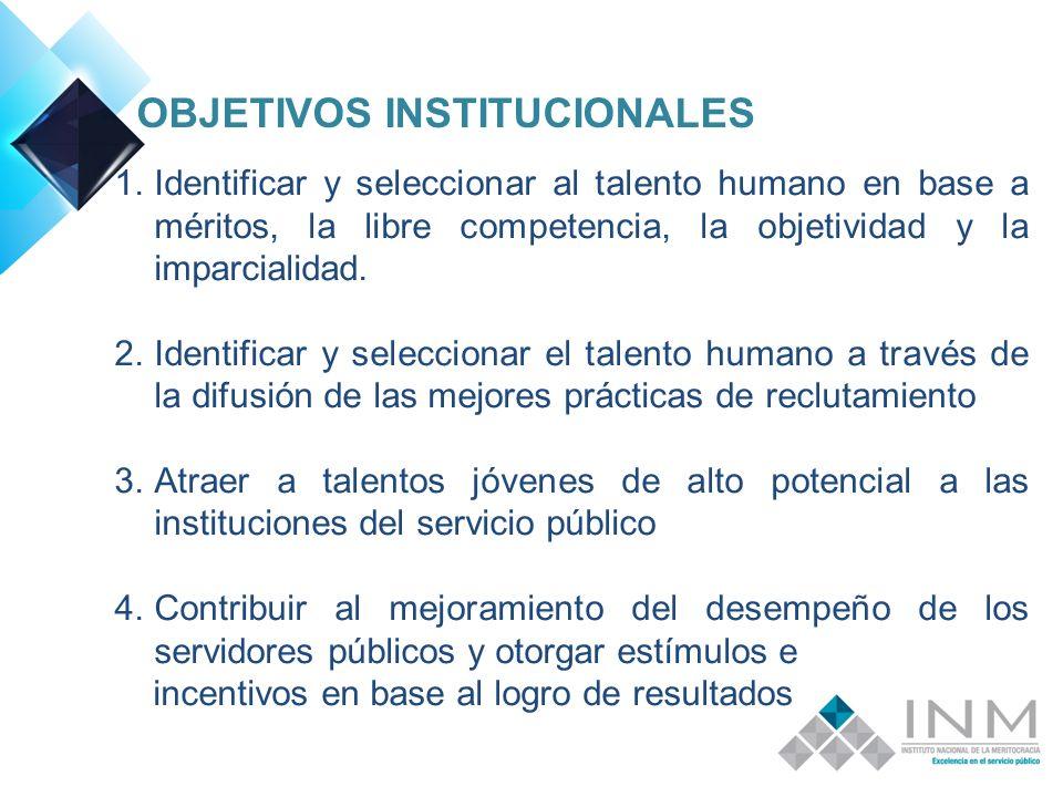 OBJETIVOS INSTITUCIONALES 1.Identificar y seleccionar al talento humano en base a méritos, la libre competencia, la objetividad y la imparcialidad.