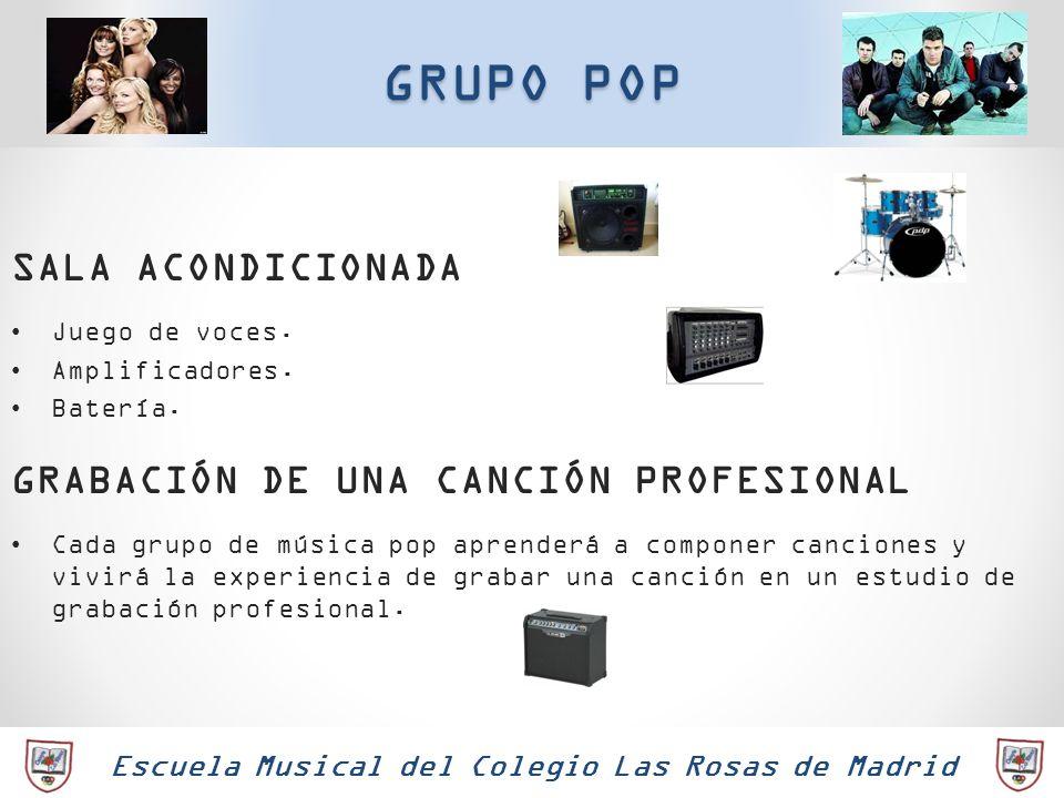 Escuela Musical del Colegio Las Rosas de Madrid GRUPO POP SALA ACONDICIONADA Juego de voces. Amplificadores. Batería. GRABACIÓN DE UNA CANCIÓN PROFESI