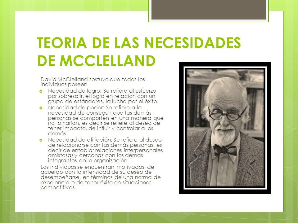 TEORIA DE LAS NECESIDADES DE MCCLELLAND David McClelland sostuvo que todos los individuos poseen Necesidad de logro: Se refiere al esfuerzo por sobres