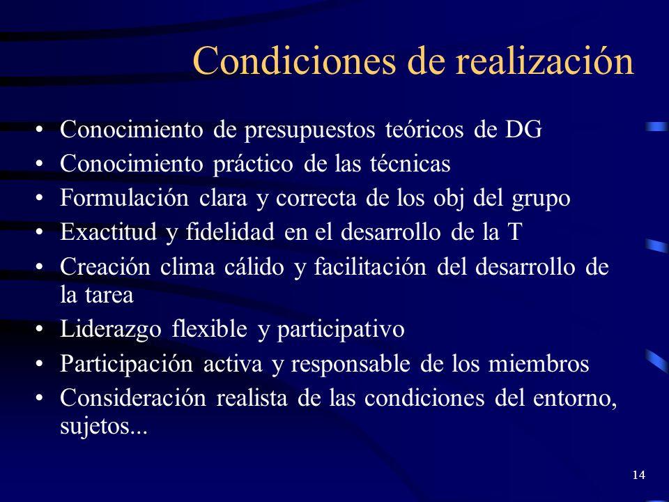 13 Áreas más importantes de aplicación de las TG Formación: desarrollo de capacidades y potencialidades Psicoterapia: superación de trastornos y autoe