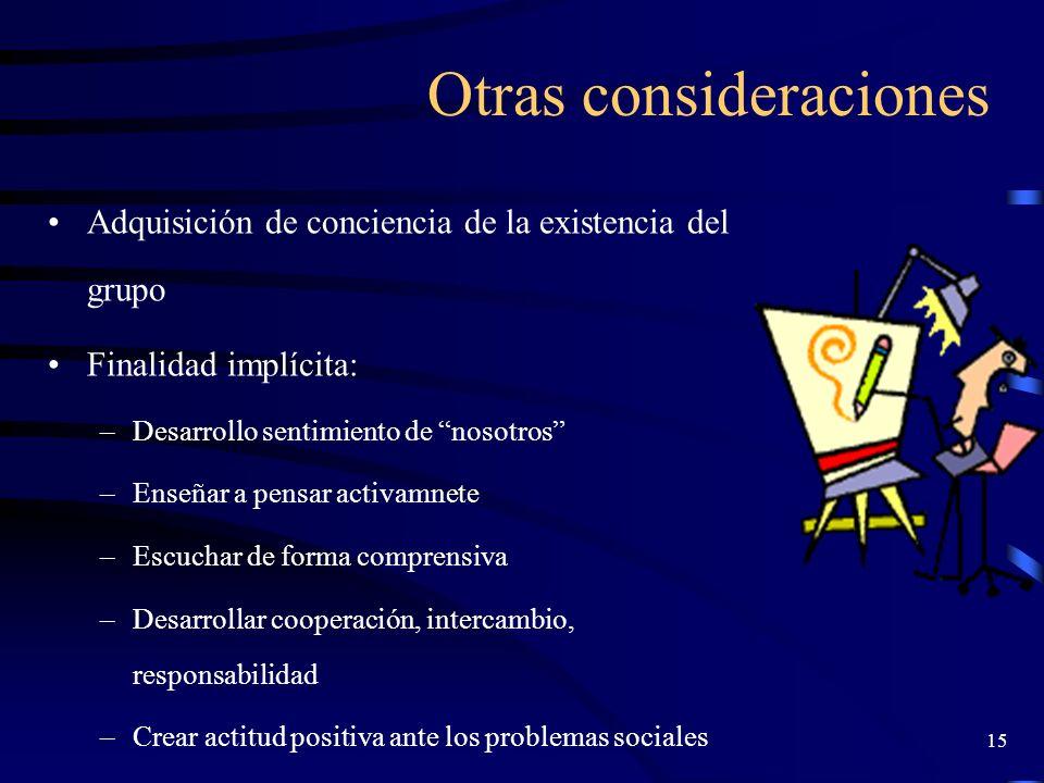 14 Condiciones de realización Conocimiento de presupuestos teóricos de DG Conocimiento práctico de las técnicas Formulación clara y correcta de los ob