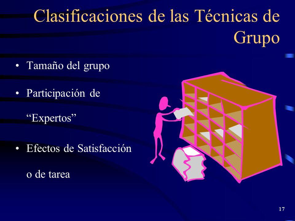 16 Criterios para la elección de las TG (Fernández,2000) Determinar objetivos perseguidos Conocer la madurez y el grado de entrenamiento del grupo Con